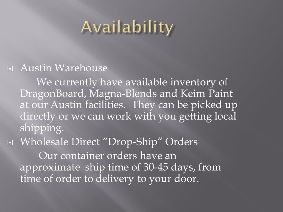 Availability Austin Warehouse