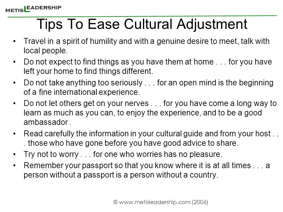 Tips To Ease Cultural Adjustment