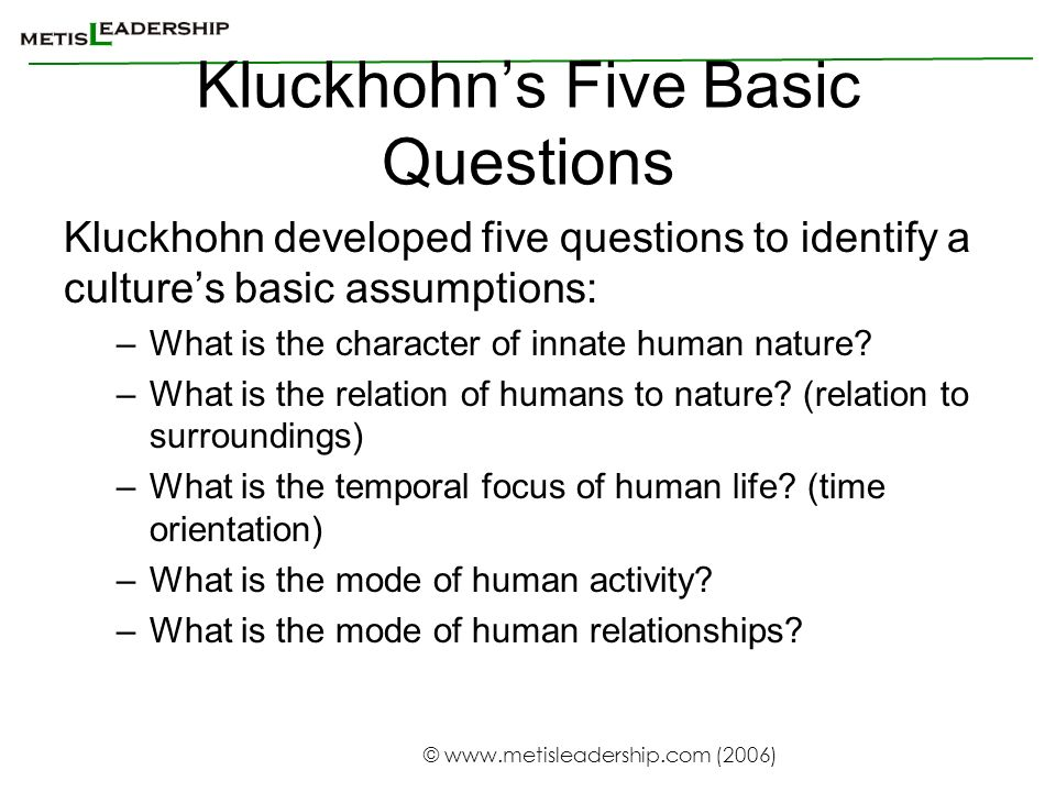 Kluckhohn's Five Basic Questions