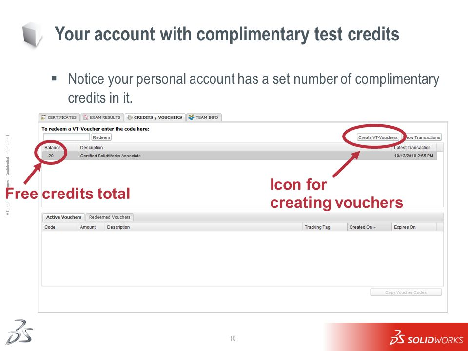 Your account with complimentary test credits