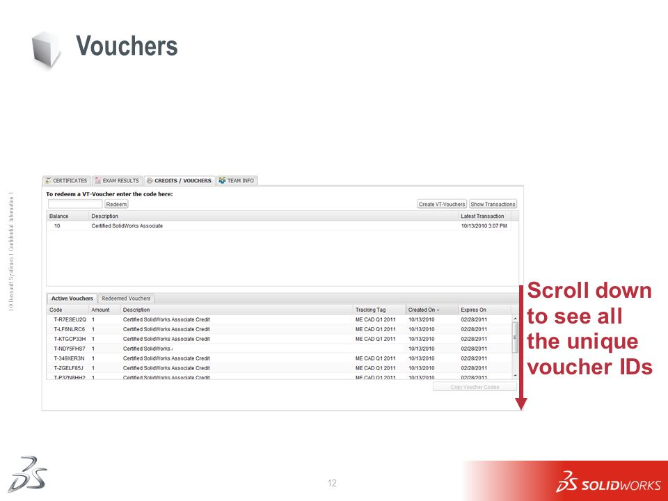 Vouchers Scroll down to see all the unique voucher IDs