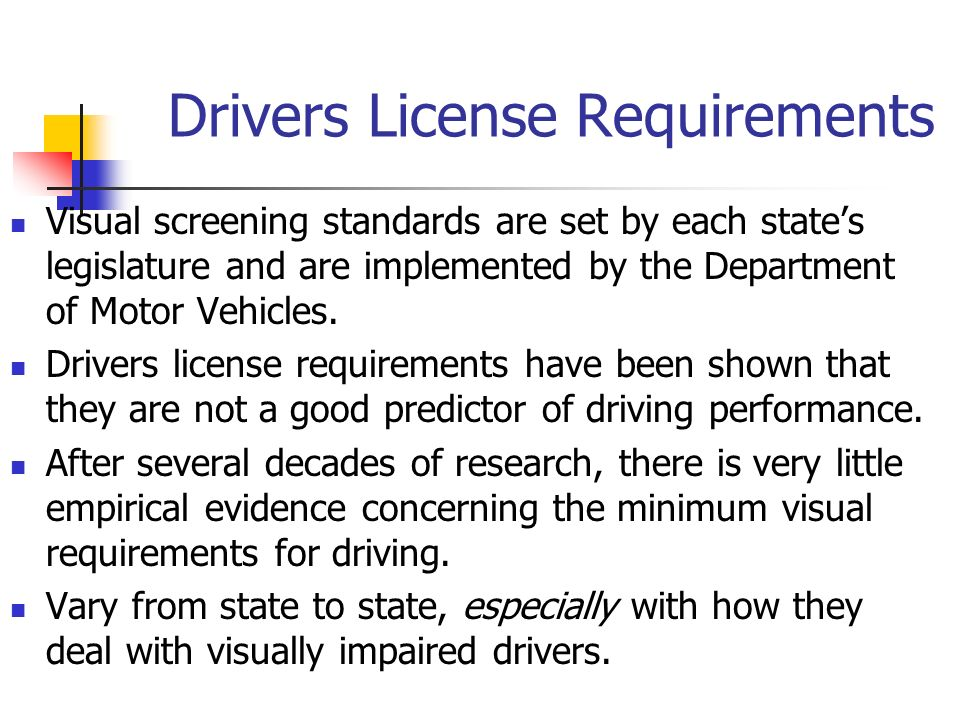Drivers License Requirements