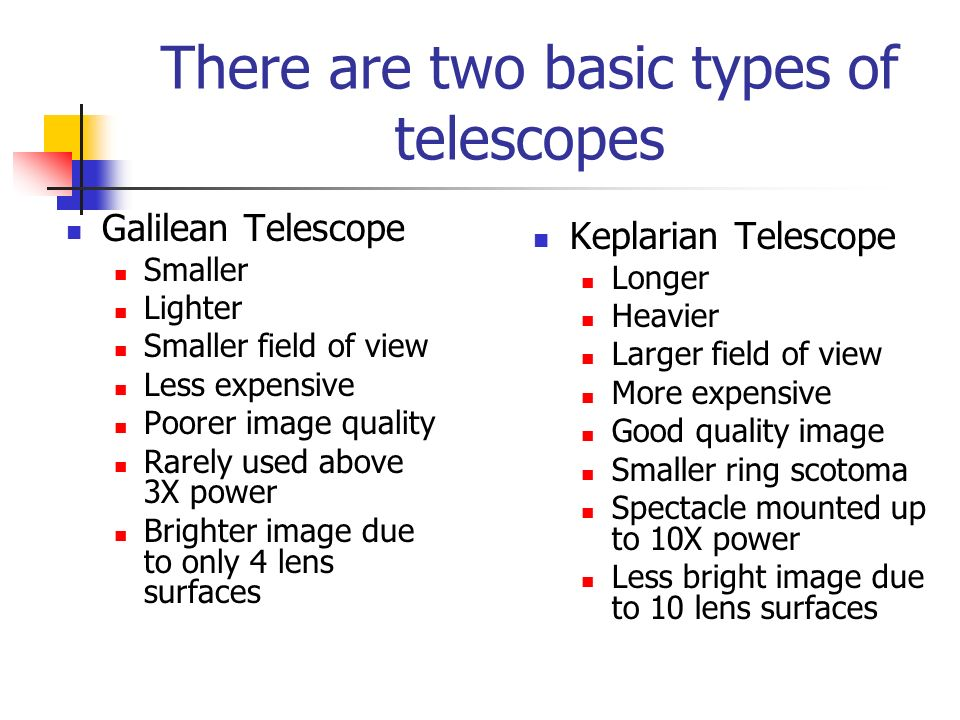 There are two basic types of telescopes