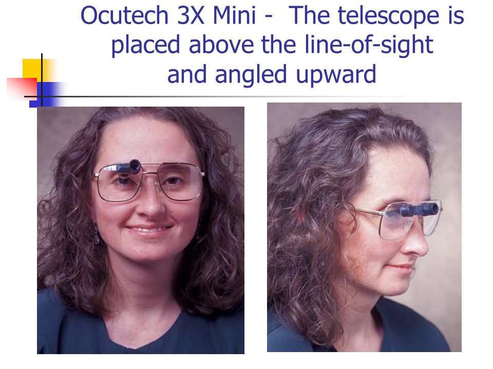 Ocutech 3X Mini - The telescope is placed above the line-of-sight and angled upward