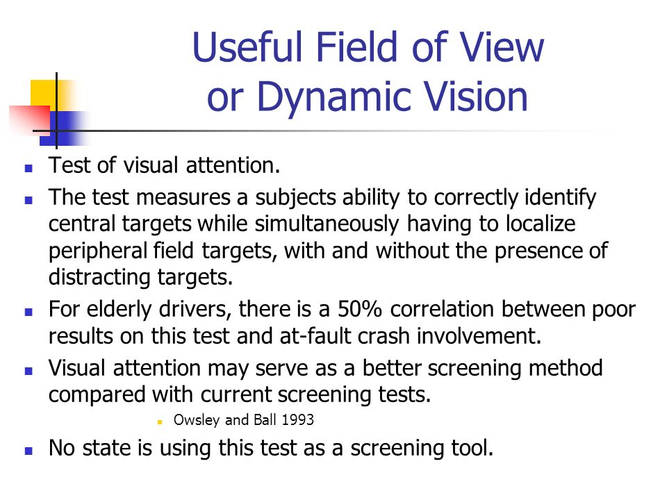 Useful Field of View or Dynamic Vision