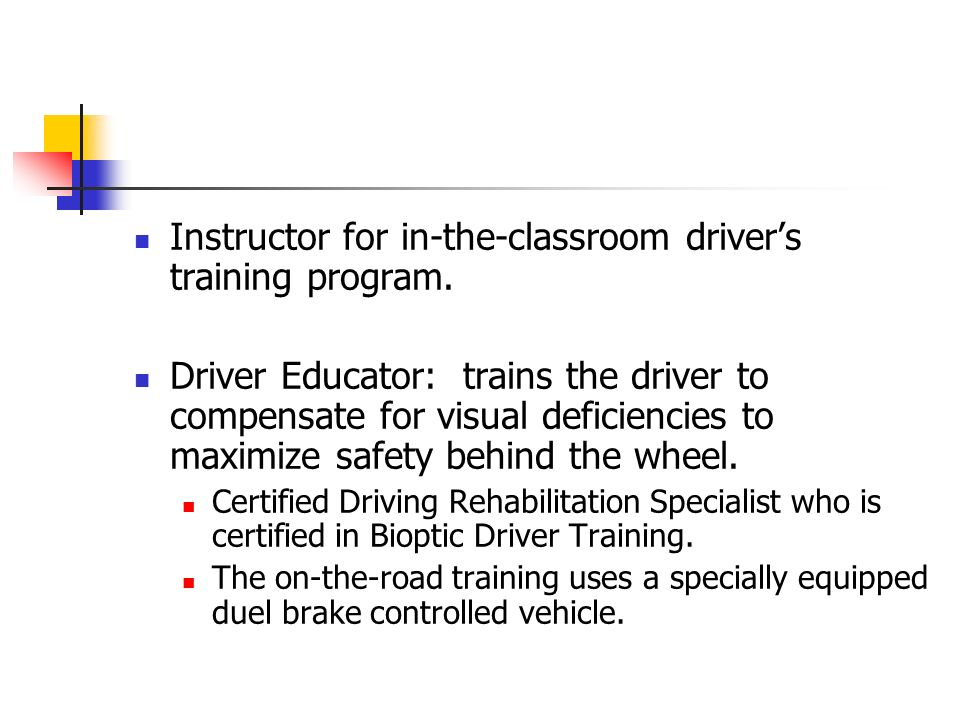Instructor for in-the-classroom driver's training program.