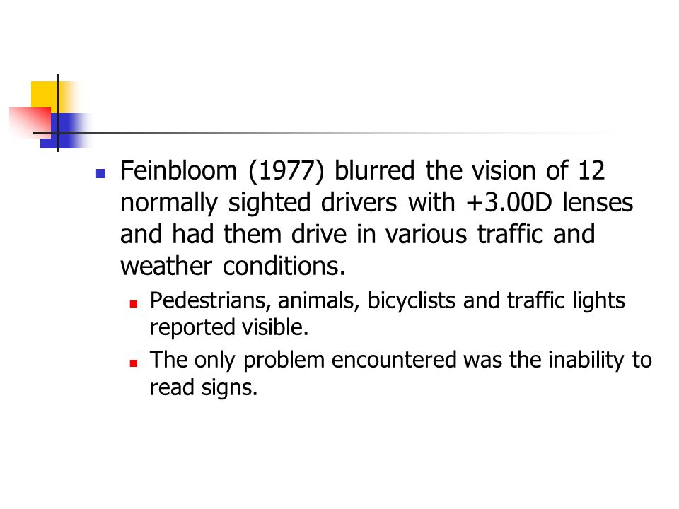 Feinbloom (1977) blurred the vision of 12 normally sighted drivers with +3.00D lenses and had them drive in various traffic and weather conditions.