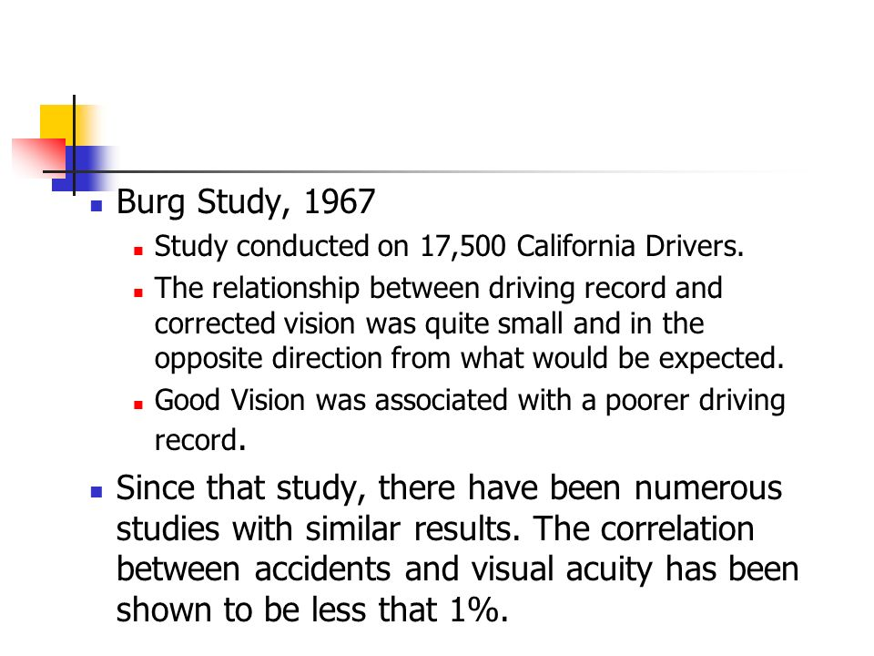 Burg Study, 1967 Study conducted on 17,500 California Drivers.