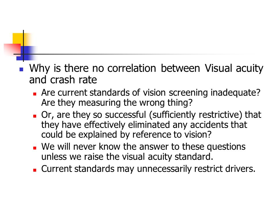 Why is there no correlation between Visual acuity and crash rate