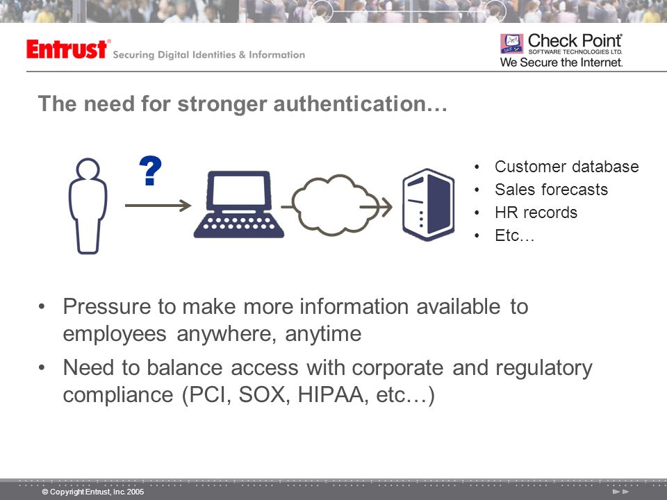 The need for stronger authentication…