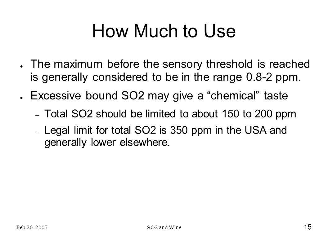 How Much to Use The maximum before the sensory threshold is reached is generally considered to be in the range 0.8-2 ppm.