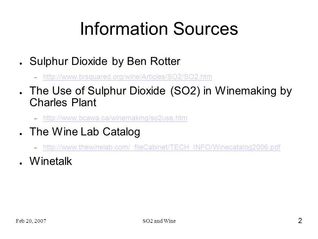 Information Sources Sulphur Dioxide by Ben Rotter