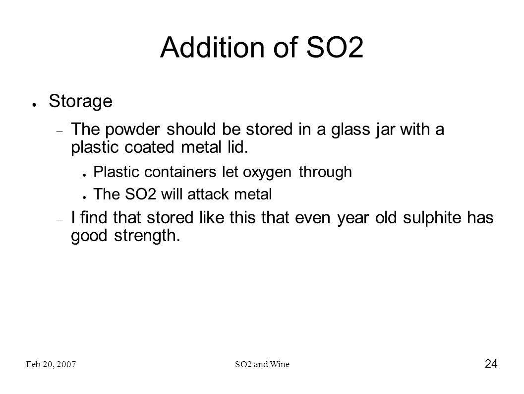 Addition of SO2 Storage. The powder should be stored in a glass jar with a plastic coated metal lid.