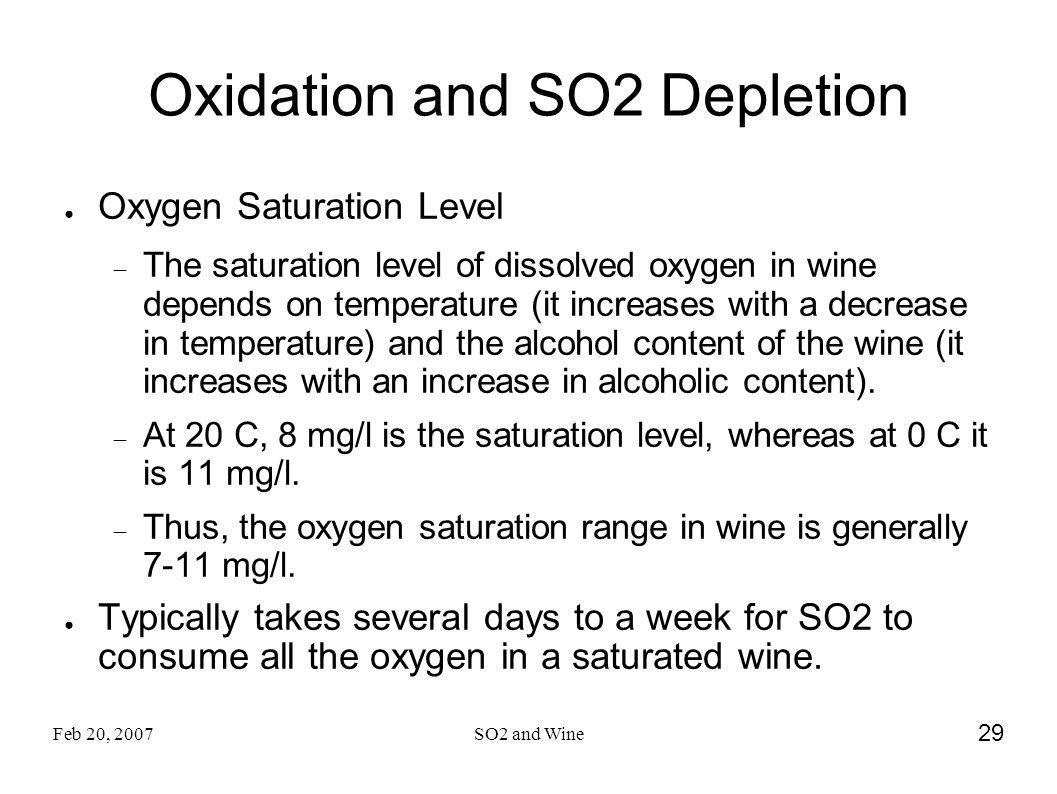 Oxidation and SO2 Depletion