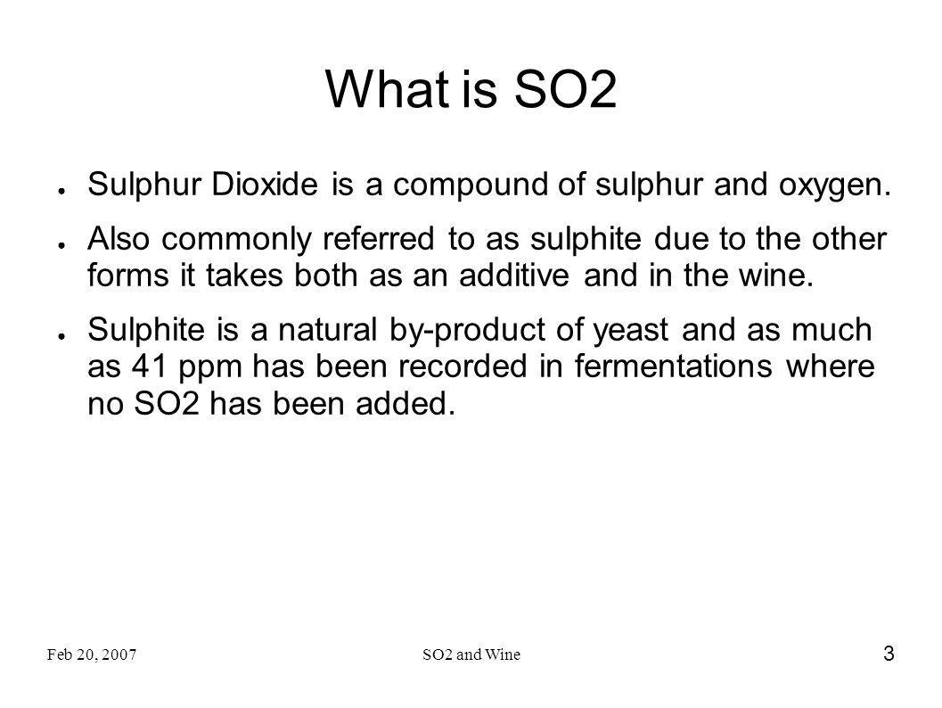 What is SO2 Sulphur Dioxide is a compound of sulphur and oxygen.