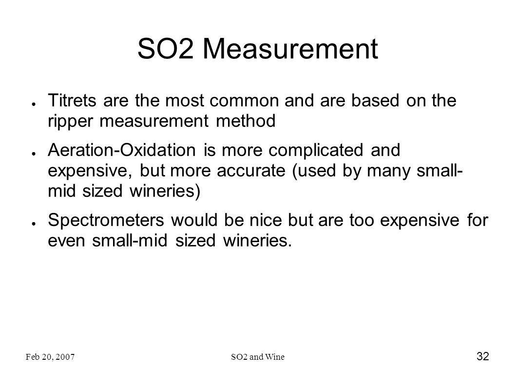 SO2 Measurement Titrets are the most common and are based on the ripper measurement method.