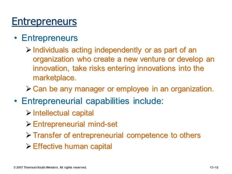 Entrepreneurs Entrepreneurs Entrepreneurial capabilities include: