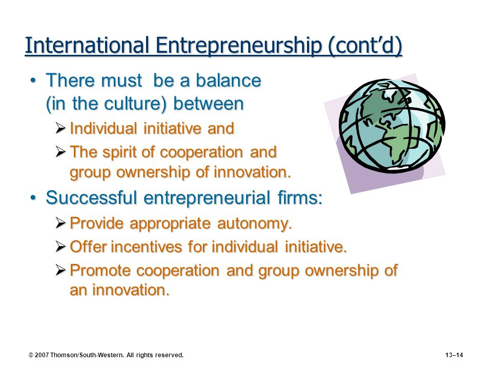 International Entrepreneurship (cont'd)