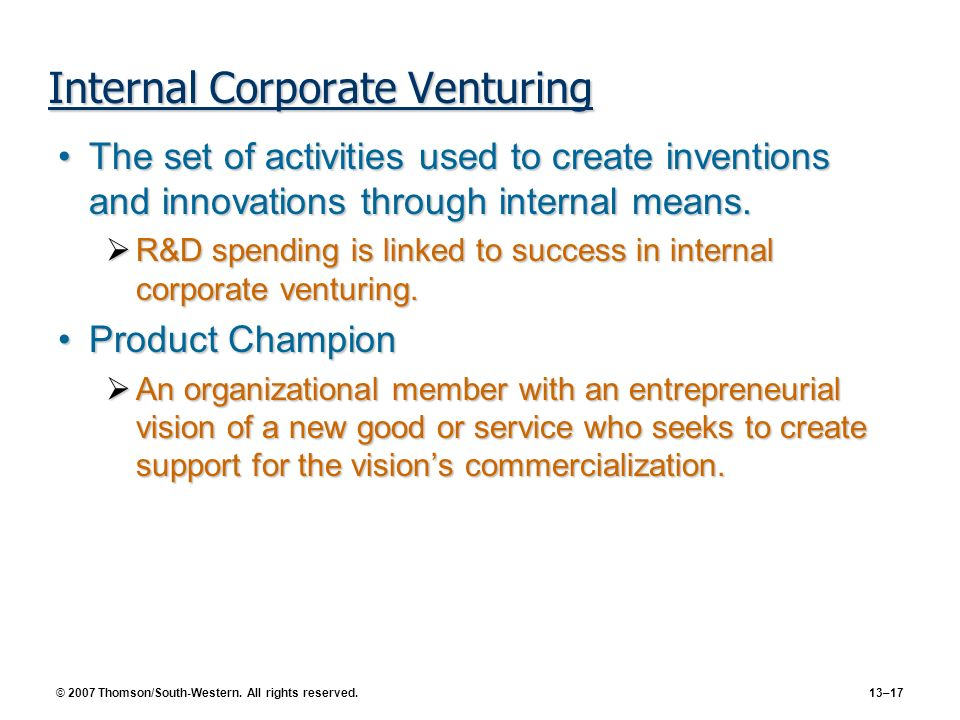 Internal Corporate Venturing