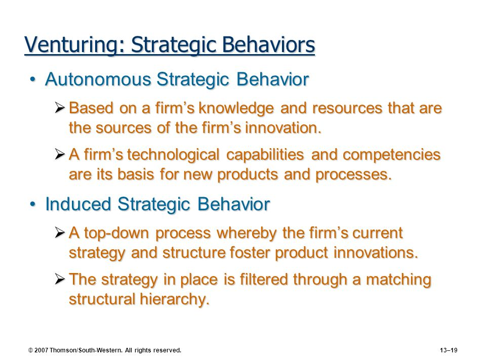 Venturing: Strategic Behaviors