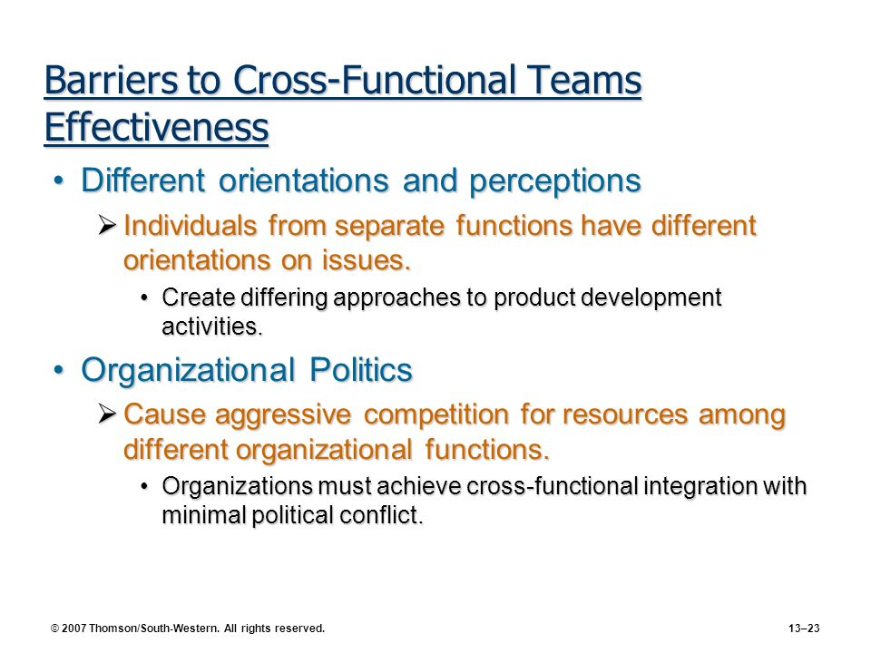 Barriers to Cross-Functional Teams Effectiveness