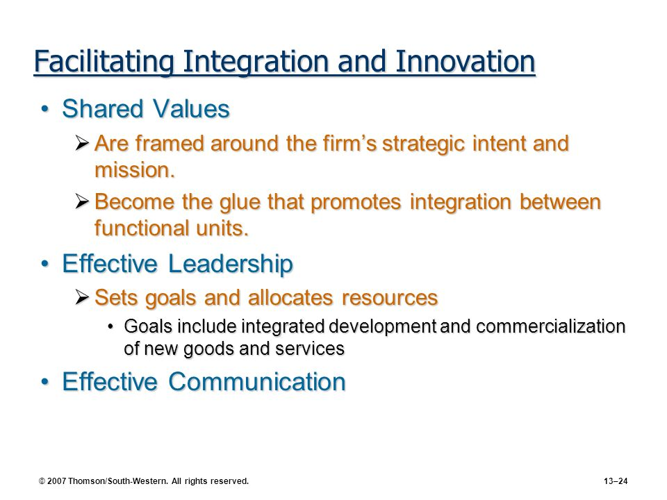 Facilitating Integration and Innovation