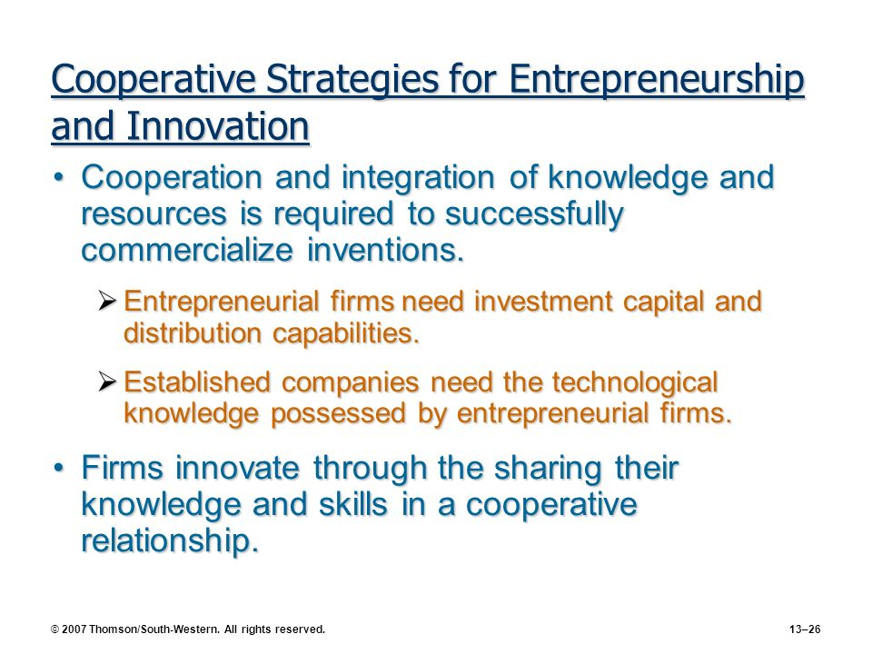 Cooperative Strategies for Entrepreneurship and Innovation