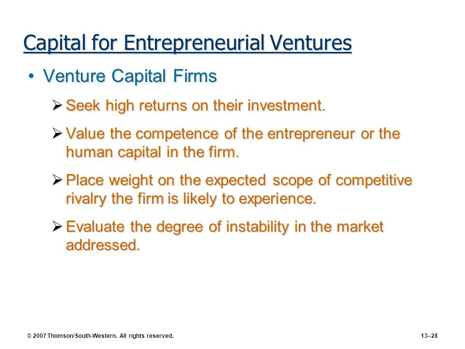 Capital for Entrepreneurial Ventures