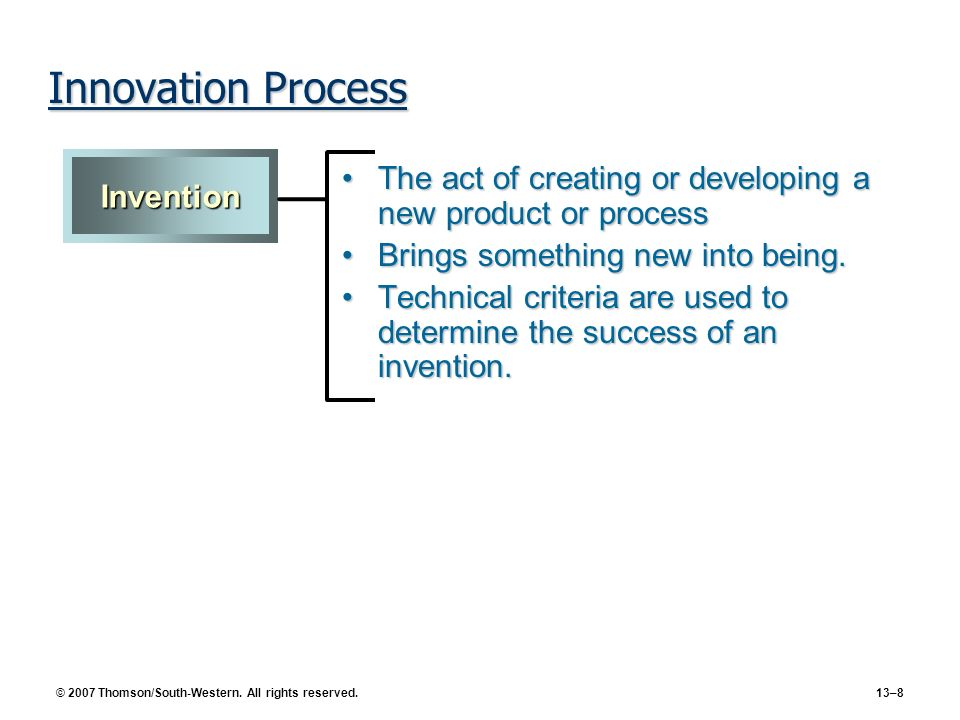 Innovation Process Invention. The act of creating or developing a new product or process. Brings something new into being.