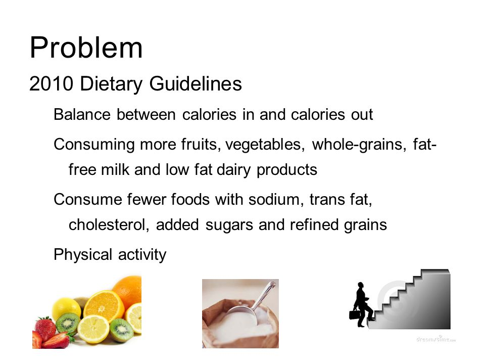 Problem 2010 Dietary Guidelines