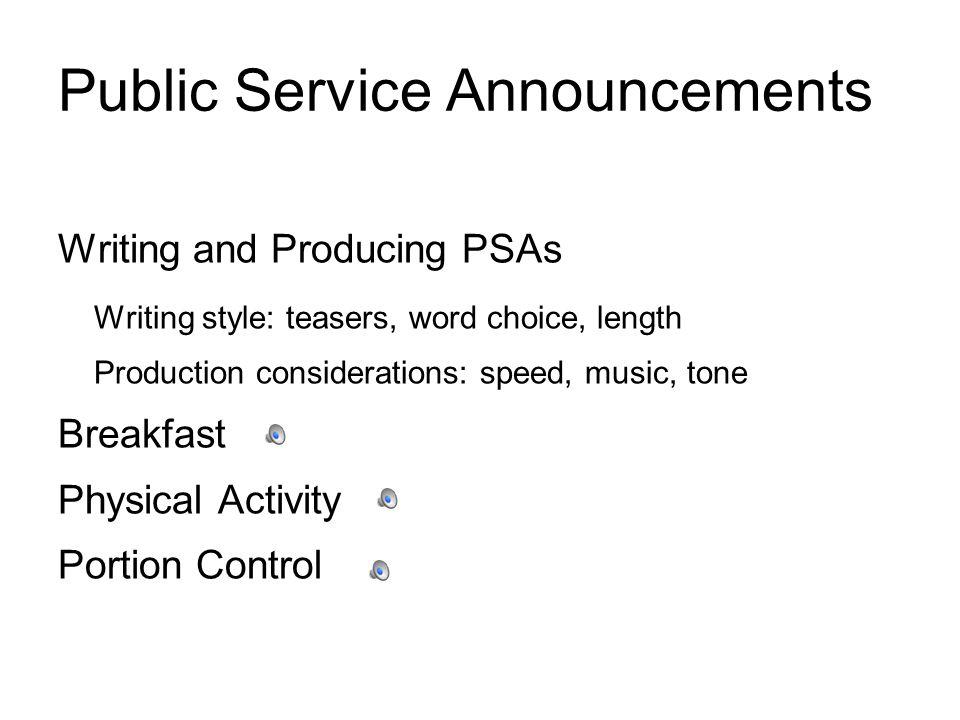 Public Service Announcements