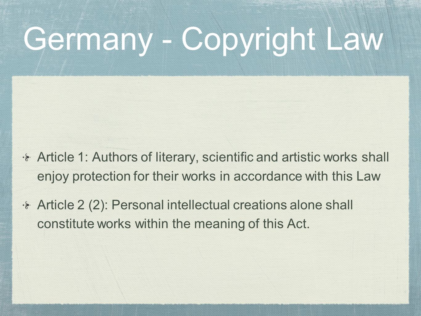 Germany - Copyright Law