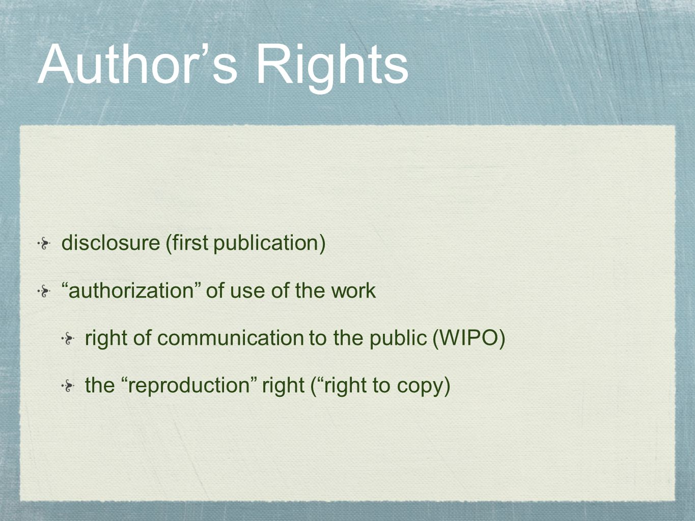 Author's Rights disclosure (first publication)
