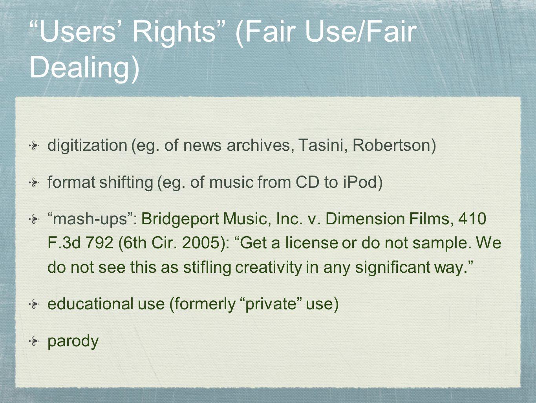 Users' Rights (Fair Use/Fair Dealing)
