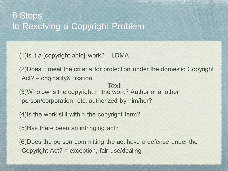 6 Steps to Resolving a Copyright Problem