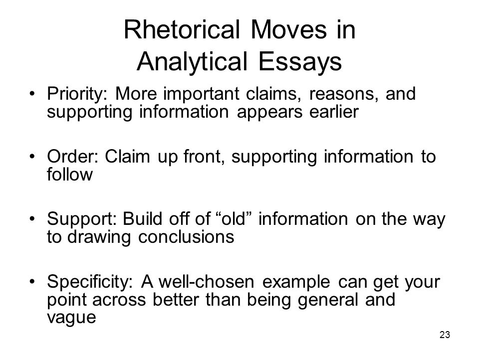 Rhetorical moves in essays