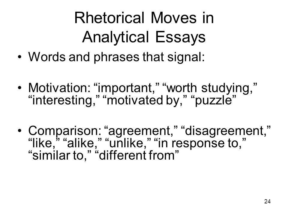 Rhetorical Moves in Analytical Essays