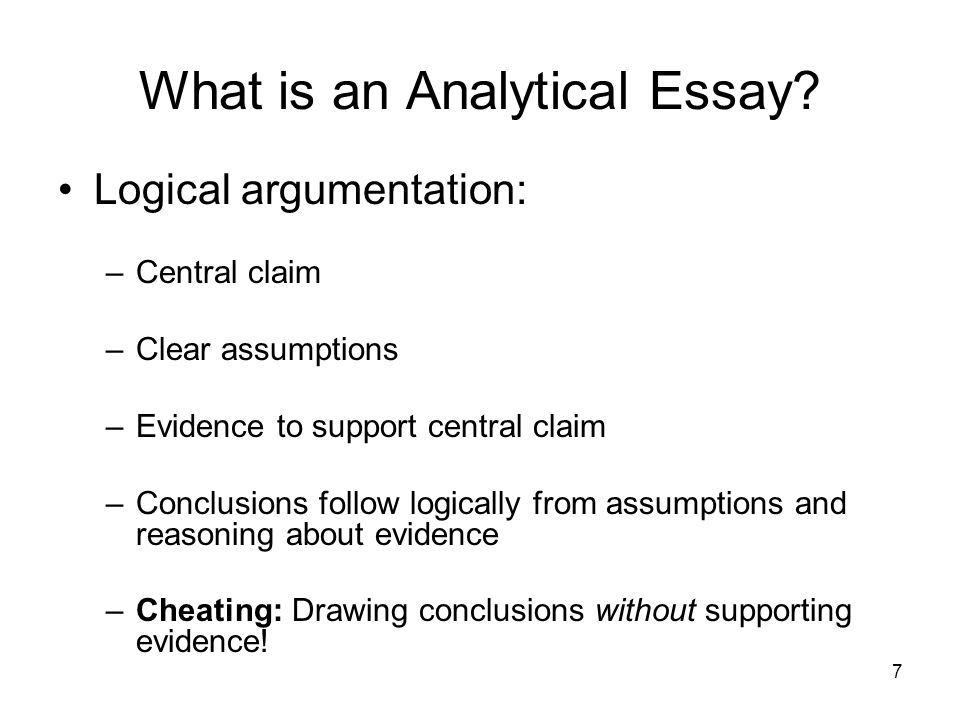 meaning of analytical essay Don't panic when your instructor tells you that you need to write an analysis all he or she wants is for you to take something apart to see how it works to write an analysis, you need to think about how each part of something contributes to the success of the whole caution make sure that you're not just summarizing the.