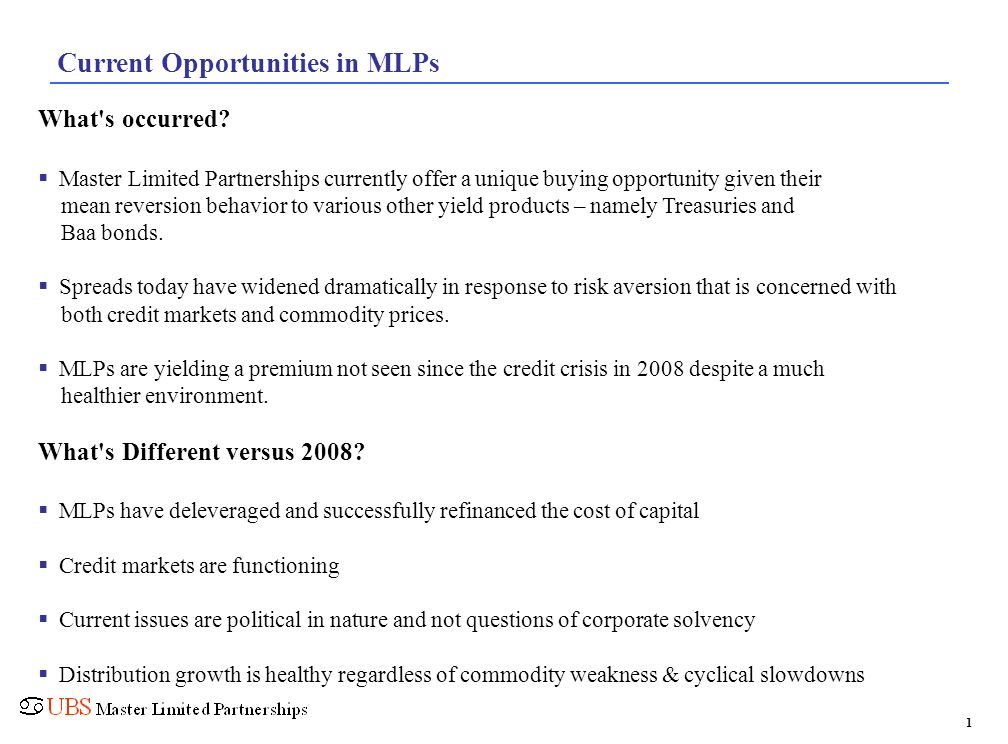 Current Opportunities in MLPs