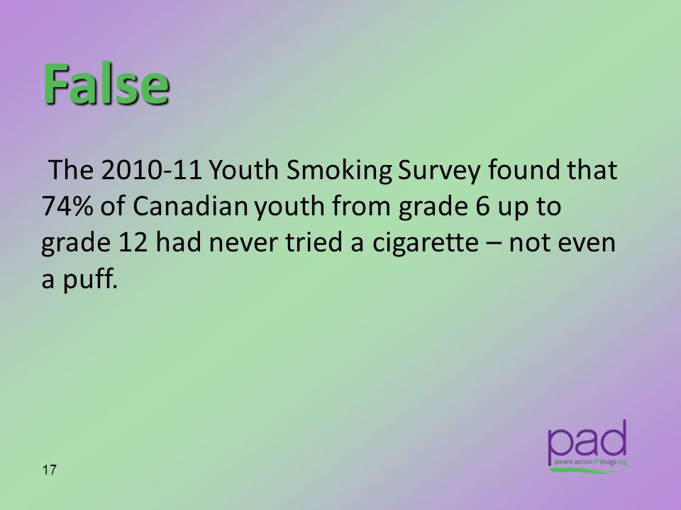 False The 2010-11 Youth Smoking Survey found that 74% of Canadian youth from grade 6 up to grade 12 had never tried a cigarette – not even a puff.
