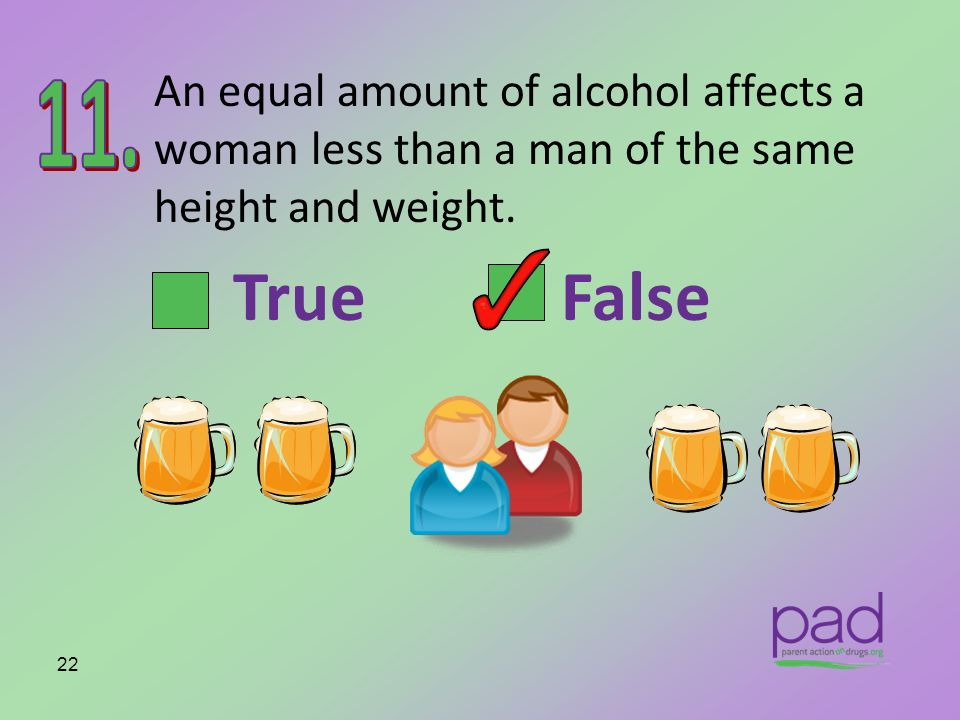 An equal amount of alcohol affects a woman less than a man of the same height and weight.