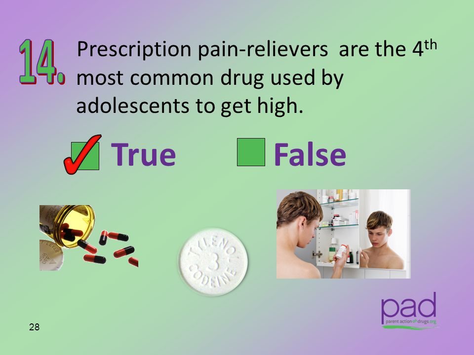Prescription pain-relievers are the 4th most common drug used by adolescents to get high.