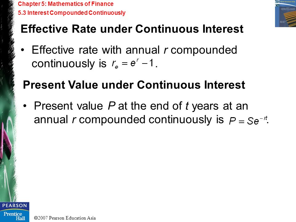 Effective Rate under Continuous Interest