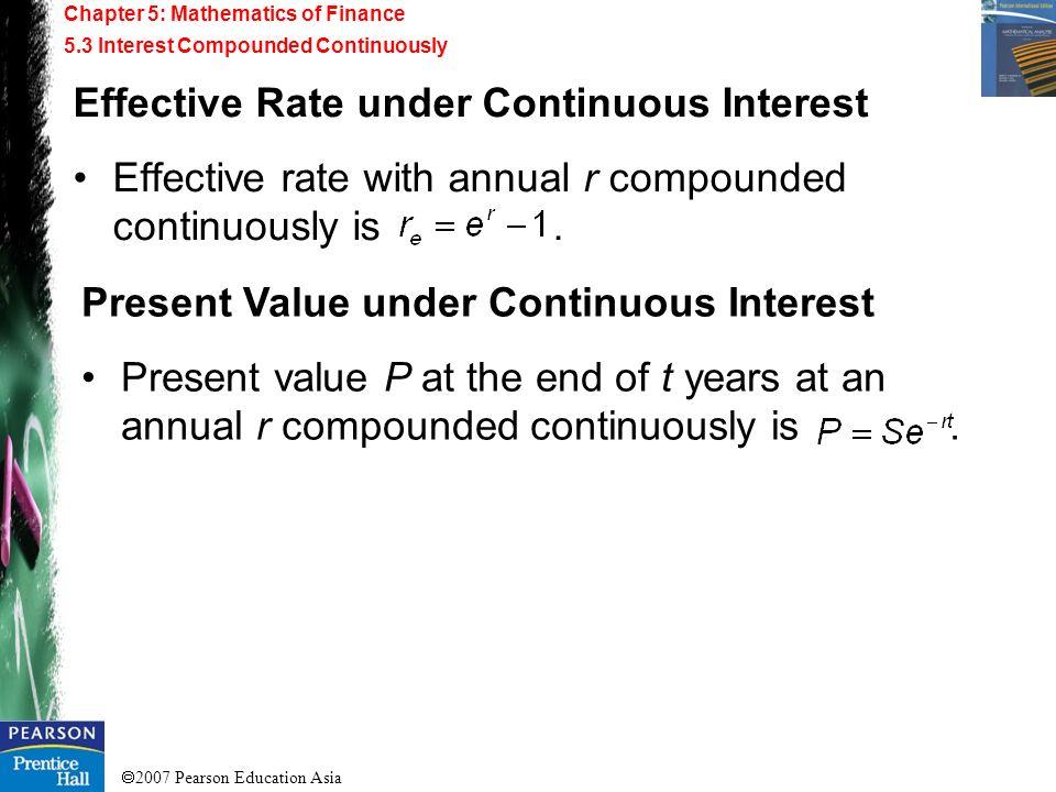 Effective Rate under Continuous Interest