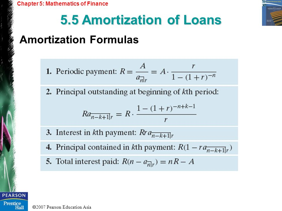 5.5 Amortization of Loans Amortization Formulas