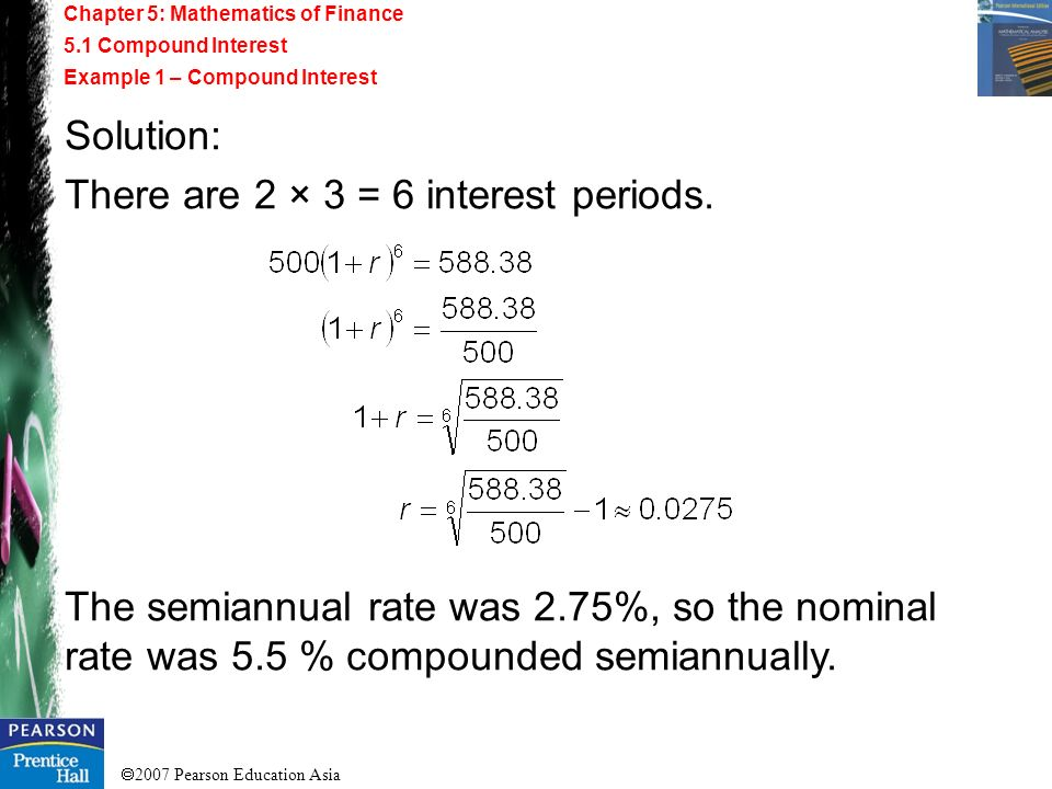 There are 2 × 3 = 6 interest periods.