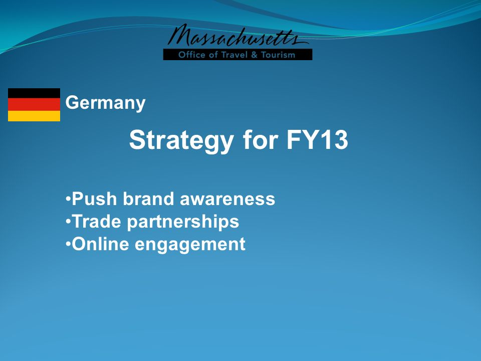 Strategy for FY13 Germany Push brand awareness Trade partnerships