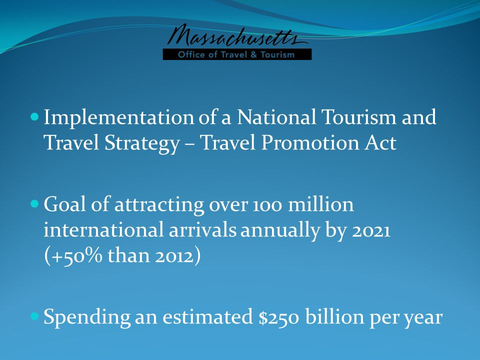 Implementation of a National Tourism and Travel Strategy – Travel Promotion Act