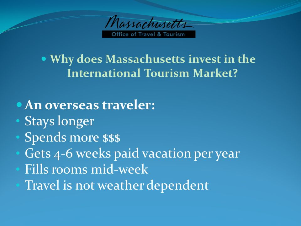 Why does Massachusetts invest in the International Tourism Market
