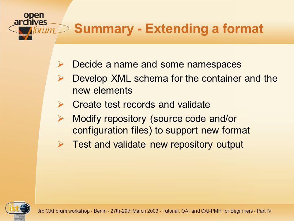 Summary - Extending a format